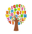 art tree with letters of alphabet for your design vector image vector image