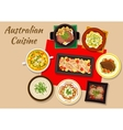 Australian cuisine dishes for festive dinner icon vector image vector image