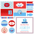 Baby Shower Nautical Set - for Party Decoration vector image vector image