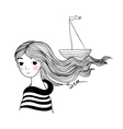 Beautiful young girl sailor with the ship in her vector image vector image