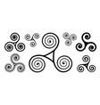 black spiral celtic triskels set isolated vector image vector image
