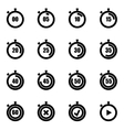 black stopwatch icon set vector image vector image