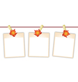 Blank Photos with Maple Leaves on Clothesline vector image