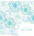 blue line art flowers frame corner pattern vector image vector image