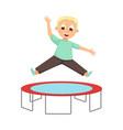 boy jumping on trampoline kid having fun on vector image vector image