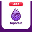 brain logo silhouette top view with arrow vector image