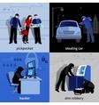 Burglar 2x2 Icons Set vector image vector image