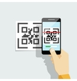 Capture QR code on mobile phone vector image