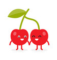cherries cherry cute fruit character vector image vector image