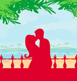 Couple kissing on a beach vector image vector image