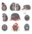 cute hedgehogs set sweet gray animals cartoon vector image vector image