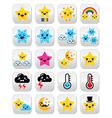 Cute weather kawaii buttons star rainbow moon vector image vector image