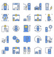 ev charging station colored concept icons vector image