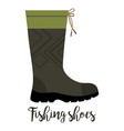 fishing shoe with text icon vector image