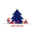 flat cartoon boy girl family characters merry vector image