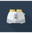 Flat toaster with long shadow icon vector image vector image
