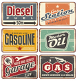 Gas stations and car service vintage tin signs vector image vector image