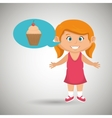 girl cartoon cup cake vector image