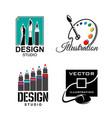 graphic designer or design studio icons vector image vector image