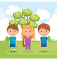 group of little kids in the park characters vector image vector image