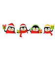 happy cute penguin on board celebrate christmas vector image