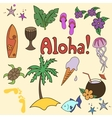 Hawaii cocktail symbols yellow color vector image vector image
