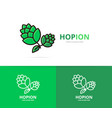 hop logo design template beer and bar vector image