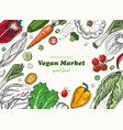 horizontal background with different vegetables vector image