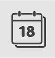 icon calendar day number 18 line flat vector image vector image