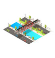 isometric colorful railway transportation concept vector image