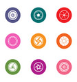 lens icons set flat style vector image vector image