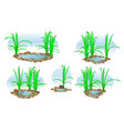 little lake with grass for landscape design and vector image