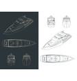 luxury yacht blueprints vector image vector image