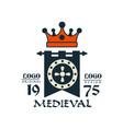 medieval logo est 1975 vintage badge or label vector image vector image