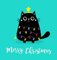 merry christmas cat fir tree shape garland lights vector image