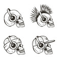 music skull side view set hand drawn vector image vector image