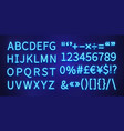 neon font blue letters numbers marks on brick vector image