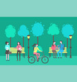 park activities people sitting chatting outdoors vector image vector image