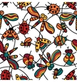 Pattern with funny ladybugs dragonflies insects vector image vector image
