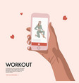 people with smartphone training home workout flat vector image vector image