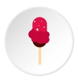 Pink fruit ice cream on wooden stick icon vector image