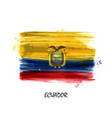 realistic watercolor painting flag of ecuador vector image
