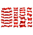 red silk ribbon banners 3d curved and spiral vector image