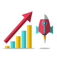 rocket launch with arrow and success graph vector image vector image