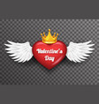 royal crown valentine day heart white bird angel vector image vector image