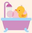 rubber duck toy on bathtub shower water bathroom vector image