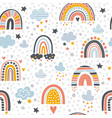 scandinavian rainbow pattern graphic shapes of vector image
