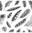 seamless pattern rustic realistic feathers of vector image