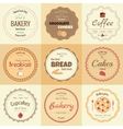 set 9 circle bakery labels vector image vector image