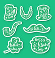 set of seven stickers emblems with lettering leaf vector image vector image